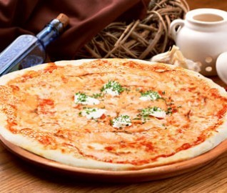 Пицца С ЛОСОСЕМ И КРАСНОЙ ИКРОЙ (26см)